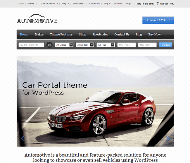 Theme WordPress pour Concessionnaire de Voiture - Automotive