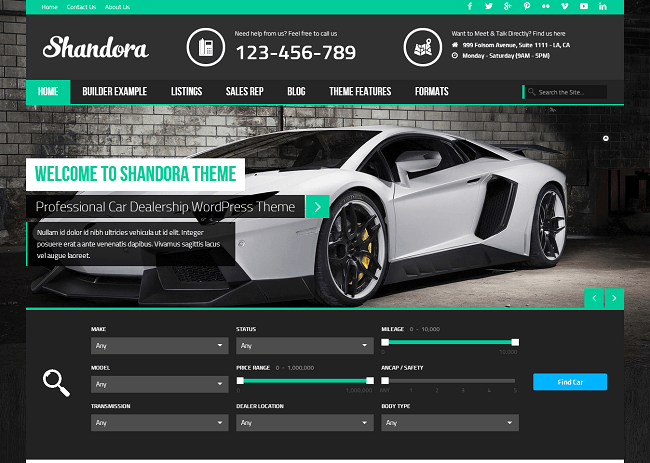 Theme WordPress pour Concessionnaire Automobile Voitures Dealership - Shandora
