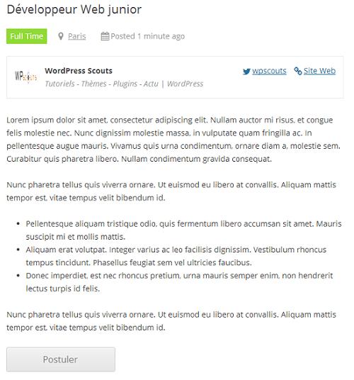 WP Job Manager - Aperçu de l'annonce d'offre d'emploi