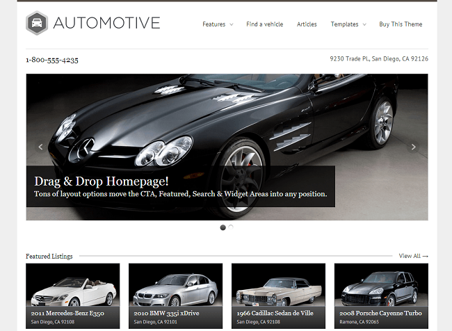 Theme WordPress pour Concessionnaire Automobile Voitures - WP Pro Automotive