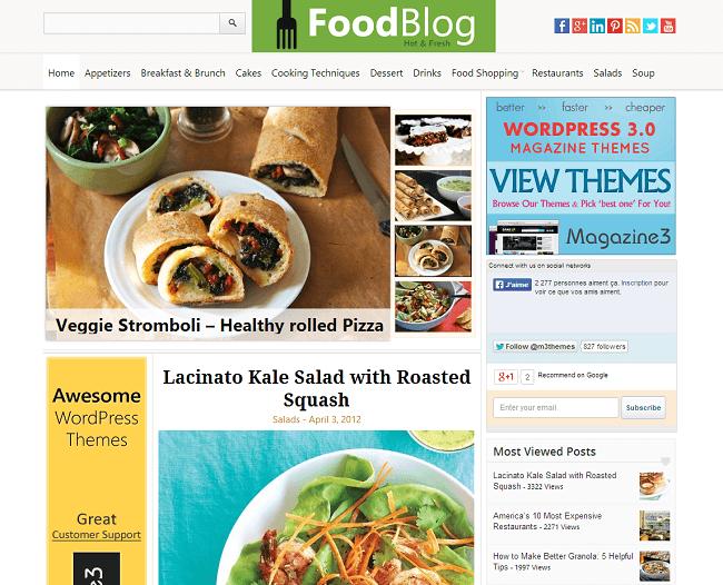FoodBlog est un thème WordPress pour les sites proposant des recettes de cuisine