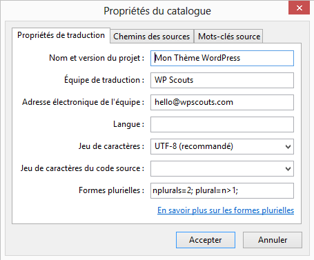 Configuration du catalogue Poedit