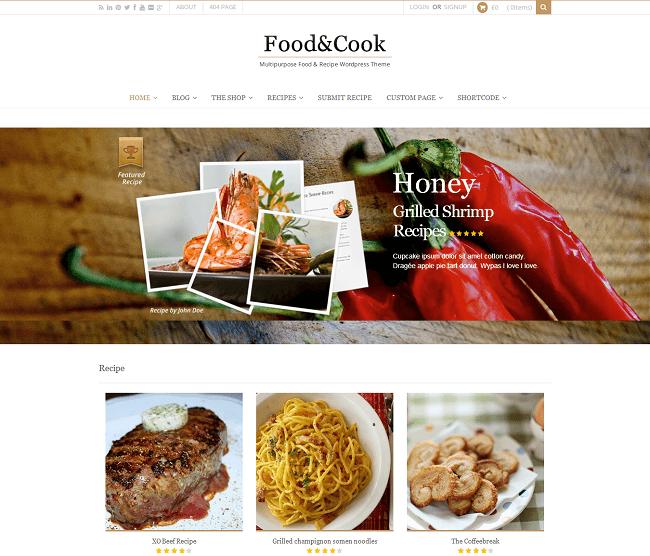 Food & Cook est un thème WordPress pour sites culinaires