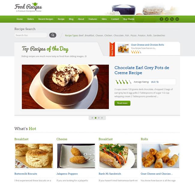 Food Recipes est un thème WordPress pour les sites publiant des recettes de cuisine
