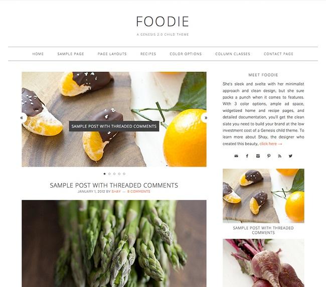 Foodie - thème WordPress par StudioPress pour les blogs culinaires