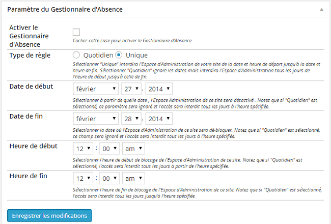 Gestionnaire d'Absence - plugin Better WP Security