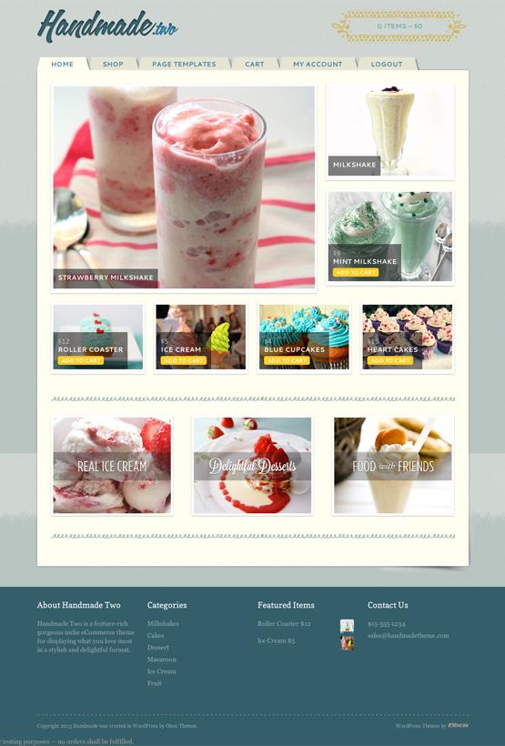 Handmade Two - thème WordPress eCommerce culinaire