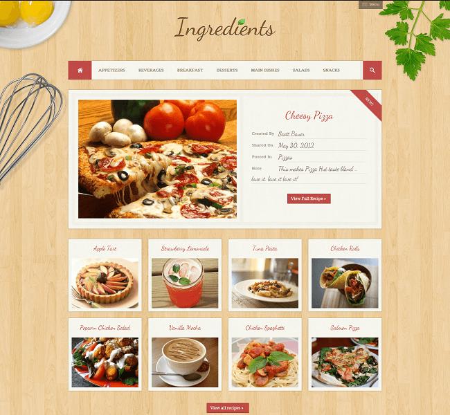 Ingredients est un thème WordPress pour partager vos recettes de cuisine