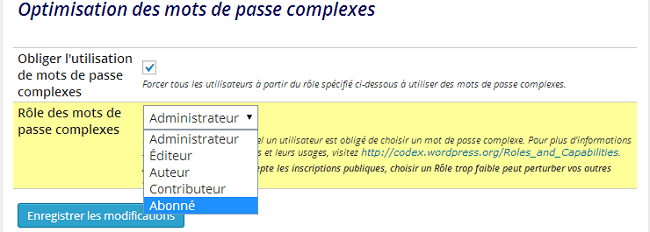 Optimisation des mots de passe complexes - plugin Better WP Security