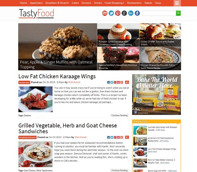 TastyFood - theme WordPress pour blog de recettes de cuisine