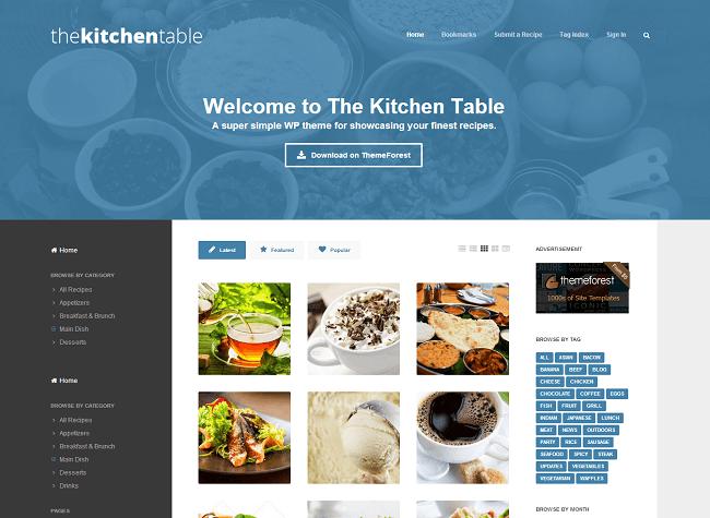 The Kitchen Table est un thème WordPress pour les sites culinaires