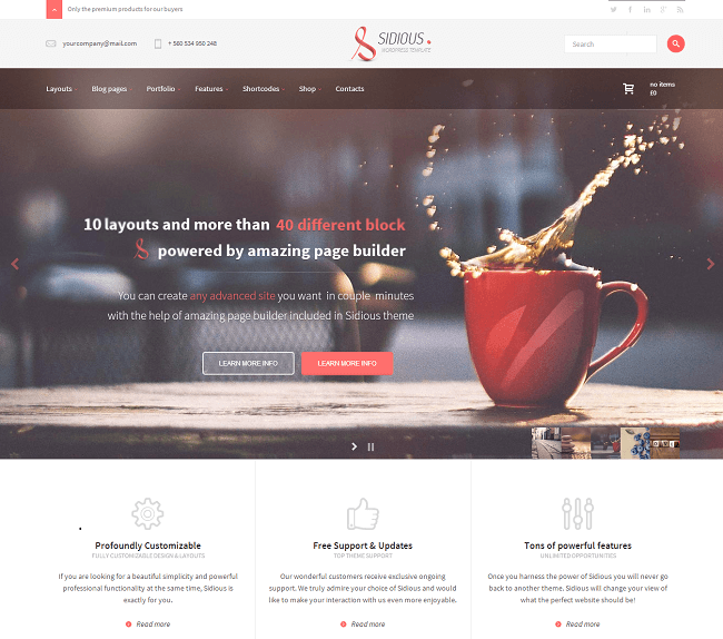 Theme WordPress Business pour vos inspirations et créations web - Sidious