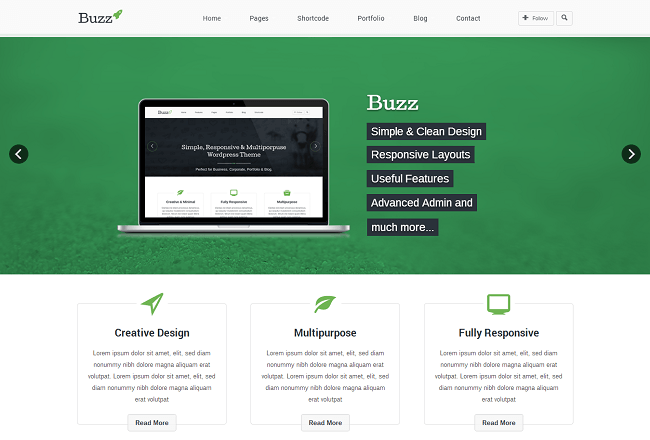 Theme WordPress Business avec un style Parallax - Buzz