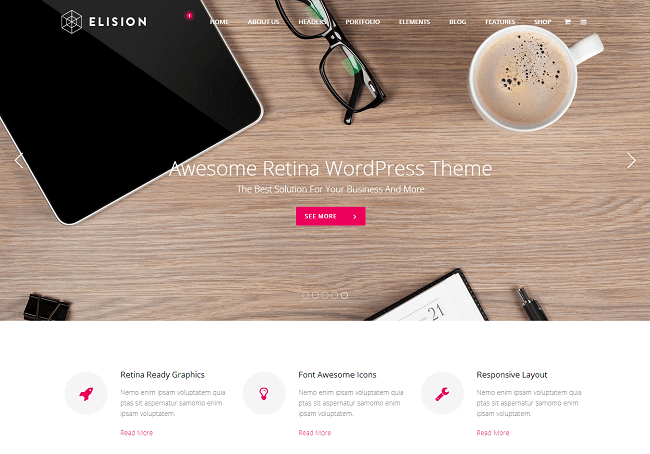 Theme WordPress Business Multi-purpose Retina - Elision