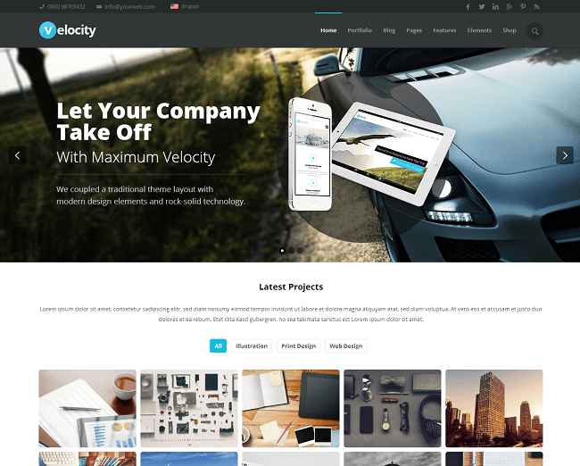 Theme WordPress Business pour Entreprises - Velocity