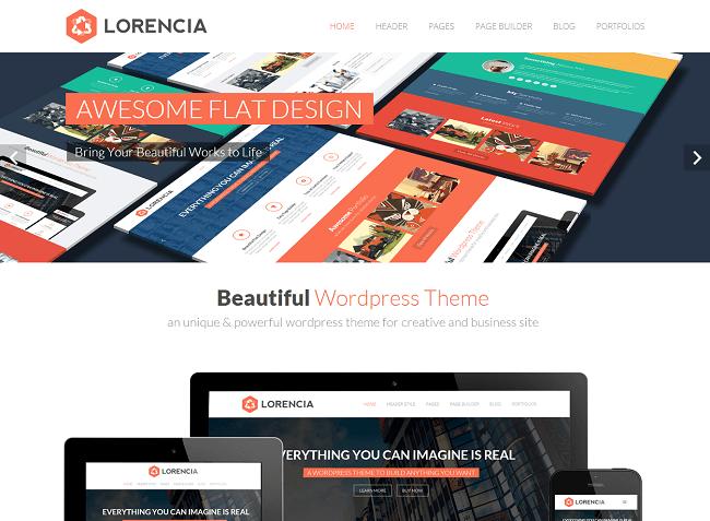 Theme WordPress Flat Business Portfolio pour proposer vos services sur votre site d'entreprise - Lorencia