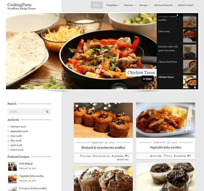 Thème WordPress pour créer son site de recettes de cuisine - CookingPress