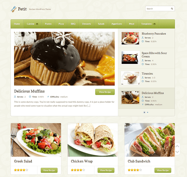 Thème WordPress pour les Sites de Recettes de Cuisine - Petit
