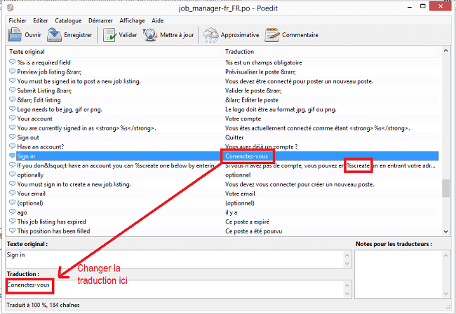 Modification de la traduction du plugin WP Job Manager