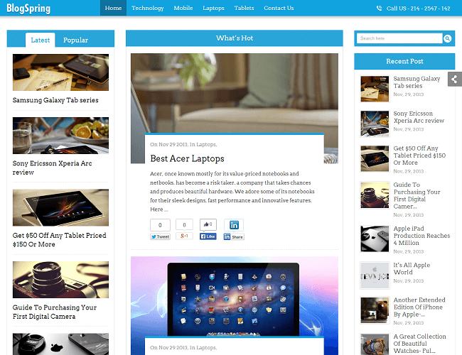 BlogSpring Theme WordPress - Inkthemes