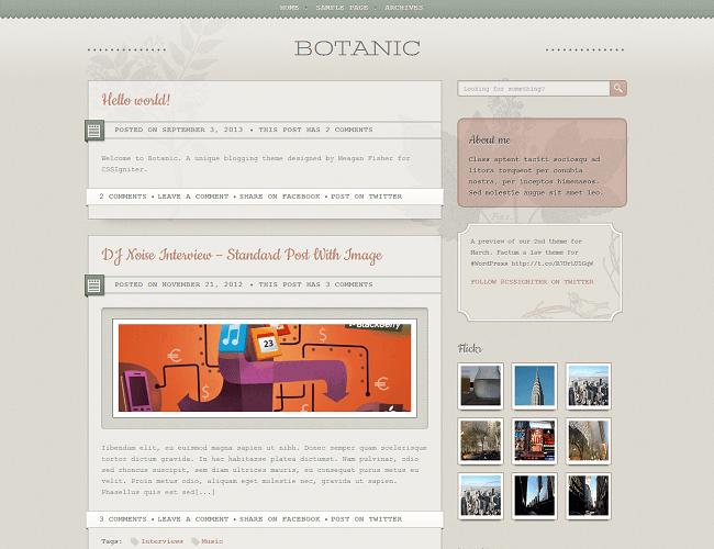 Botanic - thème WordPress classique pour lancer un blog