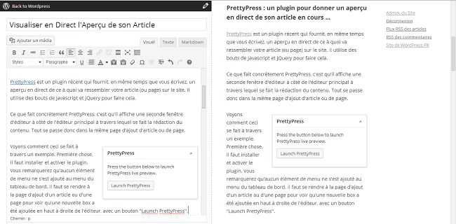 Aperçu en direct de l'article avec PrettyPress