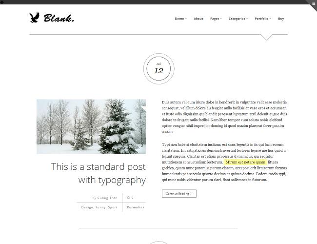 Blank est un thème WordPress pour Blog minimaliste