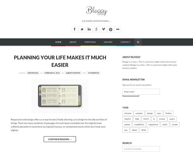 Bloggy WP est un thème WordPress pour un mettre en place un blog minimaliste