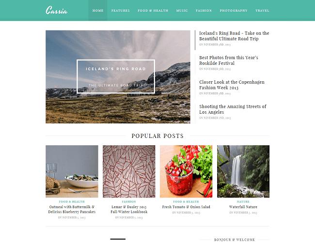 Cassia est un thème WordPress pour créer un blog