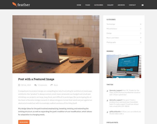 Feather est un thème WordPress clean, flat et responsive pour créer un blog