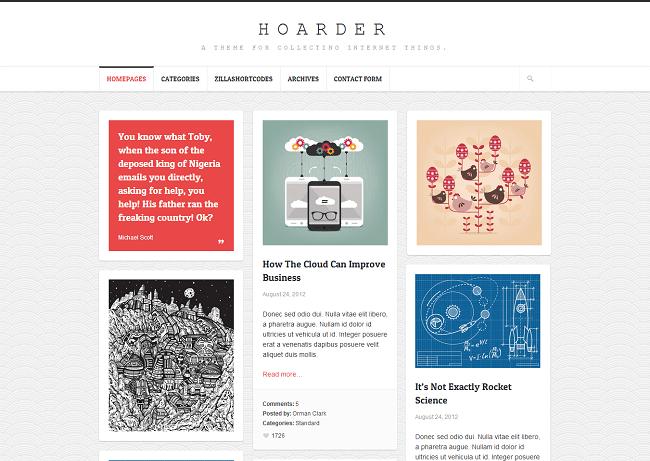 Hoarder est un thème WordPress pour mettre en place votre Blog