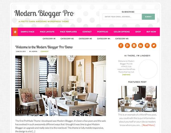 Modern Blogger Pro est un theme WordPress pour blog féminin