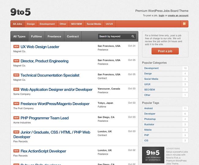 Nine to Five - Theme WordPress pour créer une job board ou un site d'offre d'emploi