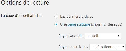 Options de lecture WordPress