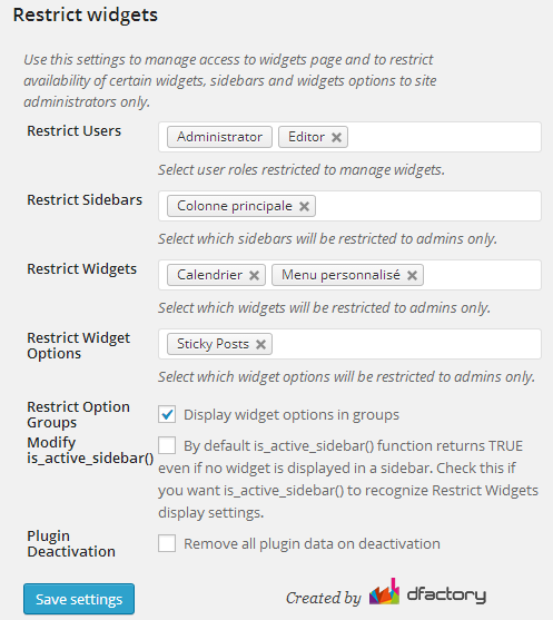 Options générales et restriction d'accès aux différents types d'utilisateurs - Plugin WordPress Restrict Widgets