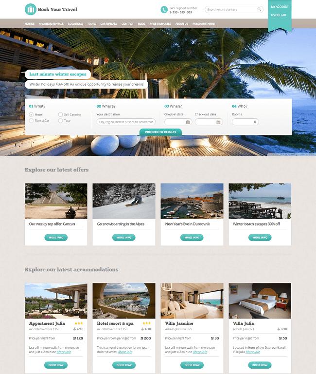 Book Your Travel est un theme WordPress pour Réservation de Voyage en Ligne