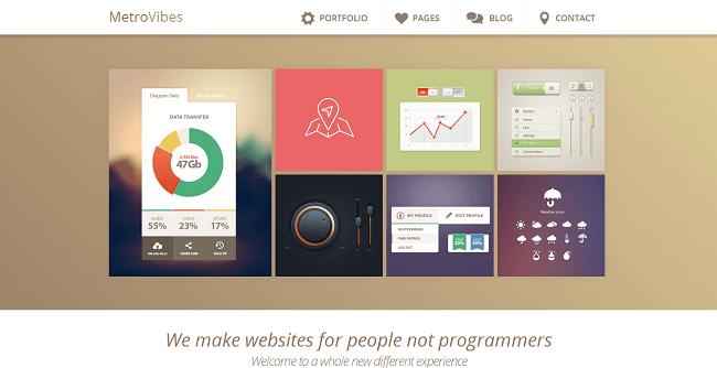 Metro Vibes est un thème WordPress de style Metro pour afficher son portfolio