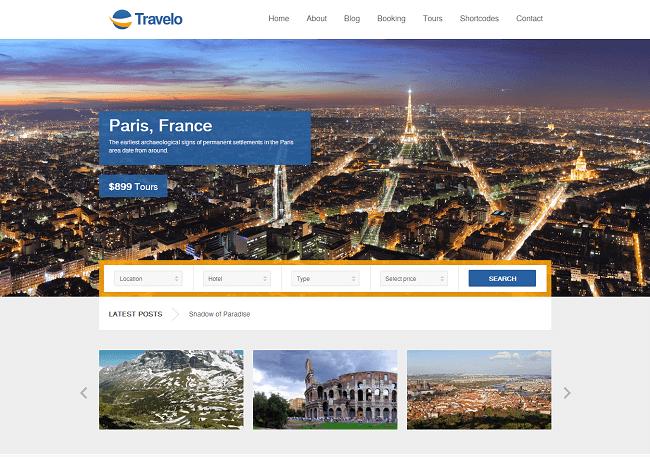Travelo est un thème WordPess de Réservation en Ligne