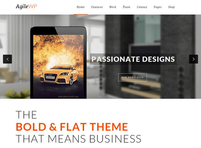 Agile est un theme wordpress doté d'un design flat et bold