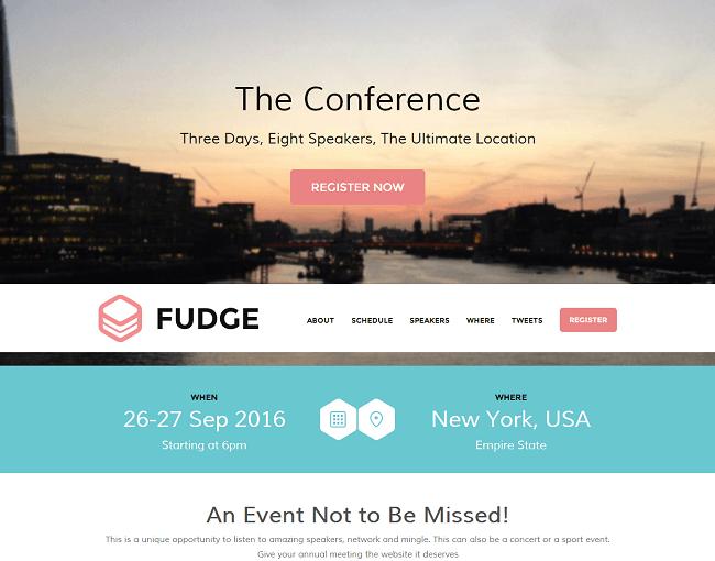 Fudge est un theme wordpress one page pour évènement