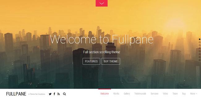 Fullpane provient de Themify et se base sur l'effet Parallax