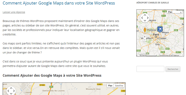 Insérer Google Maps dans le sidebar