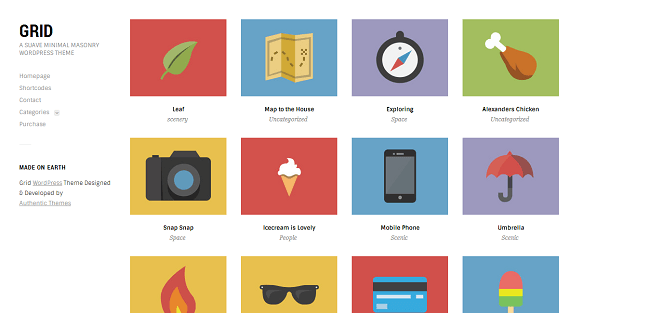 Grid - Thème WordPress Portfolio sous forme de grillle