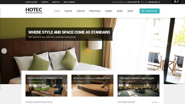 Hotec - theme wordpress hotel