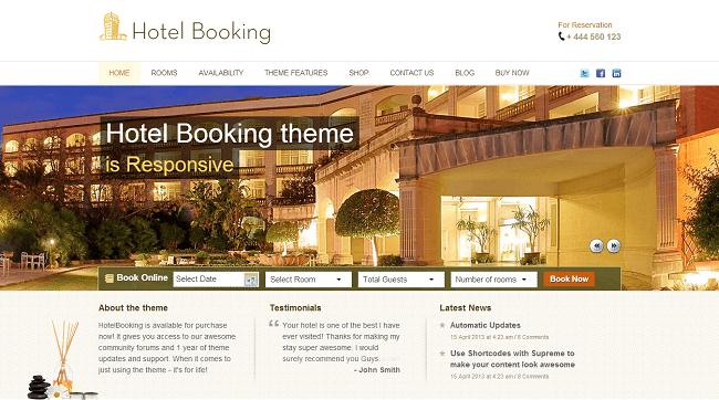 HotelBooking est un thème WordPress pour réservation d'hôtel