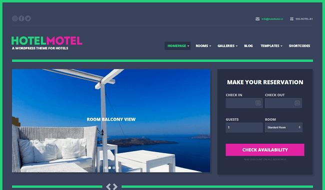 HotelMotel est un thème WordPress pour Hôtel et Motel