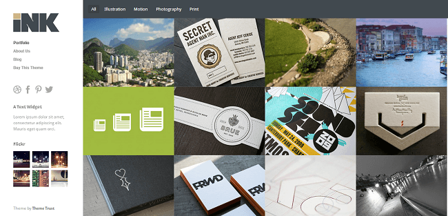 Ink est un thème WordPress portfolio pour les créatifs et les professionnels