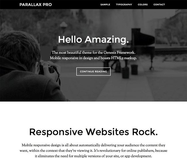 Parallax Pro provient de la compagnie StudioPress et utilise le framework Genesis