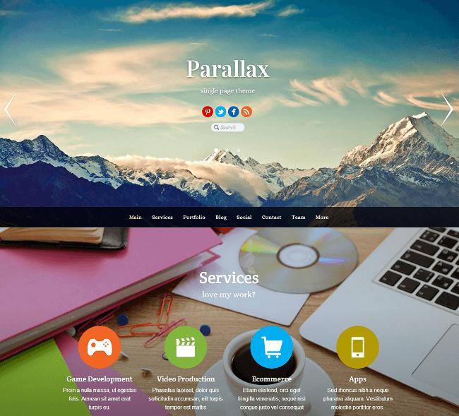 Parallax est un theme wordpress utilsant l'effet parallax