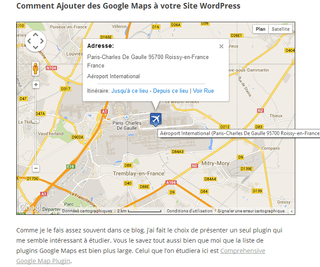Rendu de Google Maps WordPress